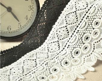 Antique lace trim, white cotton lace ,black Cotton lace Trim solubility lace Lace Trim Floral Lace