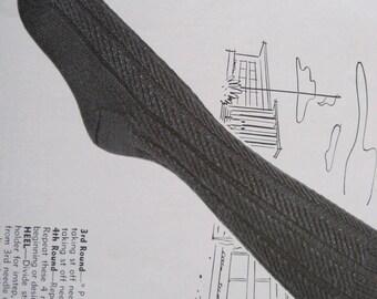 Knit Pattern - Knee High Socks - Vintage 1950's