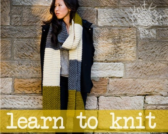 Patchy Scarf Knitting Pattern - LEARN TO KNIT