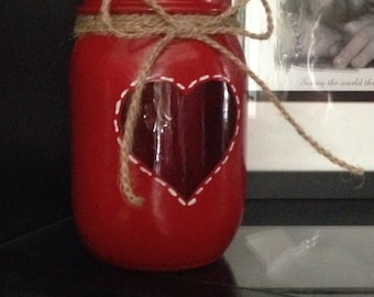 Valentine mason jar, valentine candle holder, heart candle holder, red mason jar