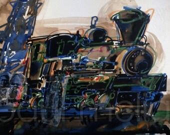 "Locomotive Art Print, Train Painting Reproduction, Railroad Art, Full Color Reproduction of my Original Painting ""Locomotive"" No. 28"