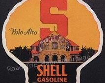 Shell Gasoline 1920s Travel Decal Magnet for STANFORD UNIVERSITY. Accurate reproduction & hand cut in shape as designed. Nice Travel Decal