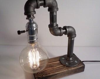 Industrial Lighting - Steampunk Lamp - Table Lamp - Edison Light - Vintage Light - Pipe Lamp - Bedside Lamp - Rustic Lighting - Loft light