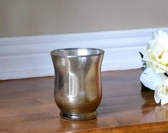 Reflective Gold Silver Mercury Glass Candleholder Candleholder Hurricane Glass Vase