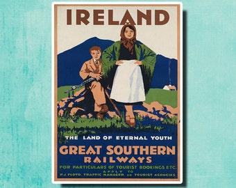 IRELAND Great Southern Railways - Vintage Irish Travel Poster SG3342