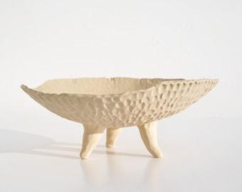 Porcelain fruit bowl , decorative bowl with fingerprint detail, OOAK
