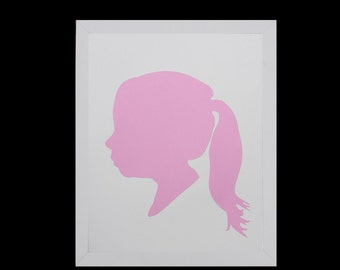 Custom Silhouette Portrait, Personalized Children's Silhouette Art, Profile,Custom Gift, Custom Keepsake, Nursery Art- 5x7 or 8x10 - PINK