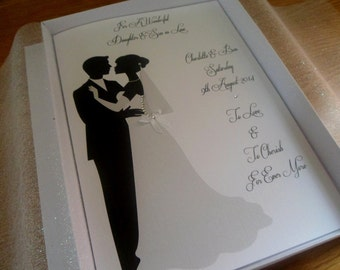 Handmade Personalised A5 Boxed Wedding Card Organza Lined With A6 Matching Money Card Daughter Son etc