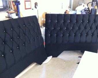 Queen bed headboard , deep buttoned , with crystal type buttons . Upholstered in quality Warwick black velour . Custom made on order .