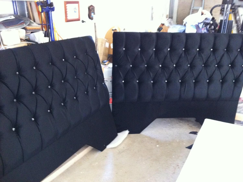 Queen bed headboard deep buttoned with crystal type - Custom headboard ...