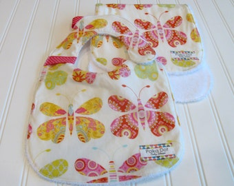 Baby Girl Bib and Burp Set - Cotton Butterfly Print - Backed in Terry Cloth - Gift Wrapped