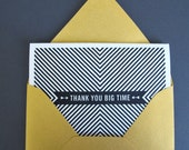 Thank You Big Time B&W Striped Letterpress Greeting Card