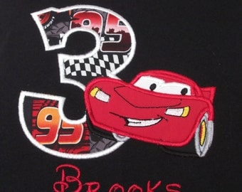 Cars Birthday shirt, Personalize with name and number Great for those birthday pictures and a special keepsake