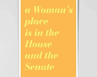 Powerful Women - Feminist Art Poster - Feminist Inspiration - Poster for Women - Inspirational Poster - Feminism - Clinton - Clinton Poster