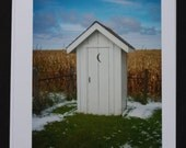 Old School House Outhouse, Greeting Card