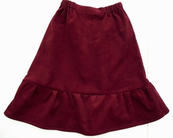 Natural cord ruffled skirt. Many colors. 68/9 months-140/9 baby toddler girl, burgundy,emerald,teal