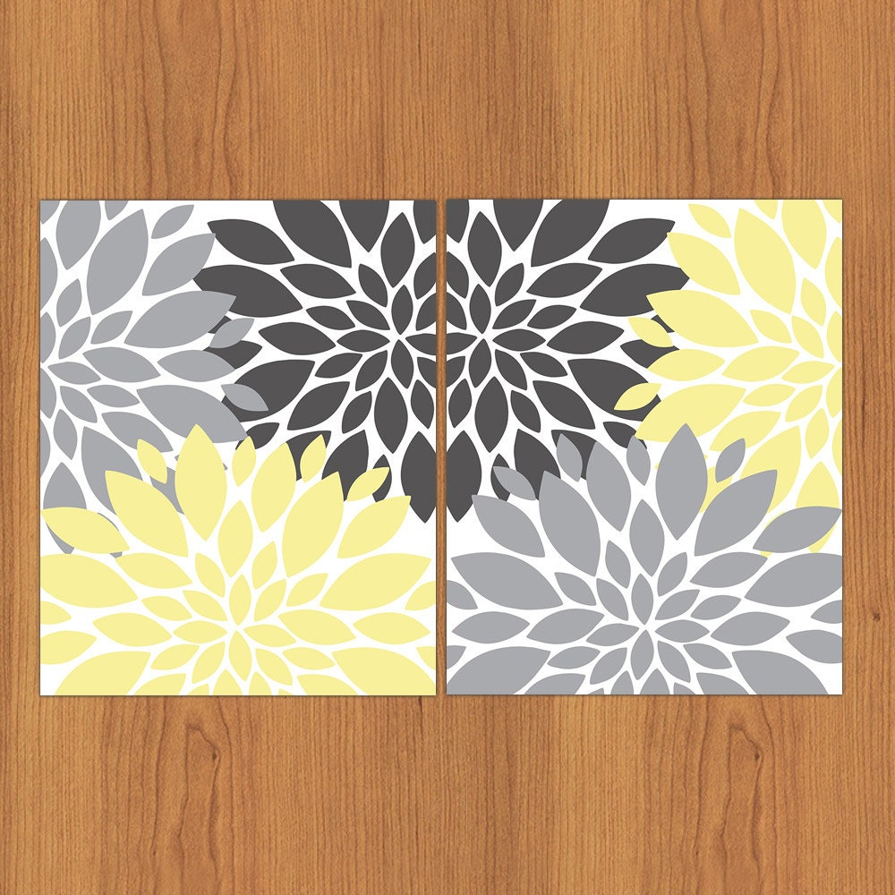 floral flower burst yellow grey set of 2 wall art baby decor. Black Bedroom Furniture Sets. Home Design Ideas