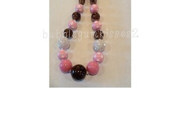 Pink, White Bling and Cheetah Chunky Bead Necklace from Bubblegumkisses2