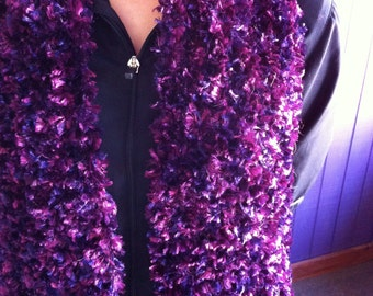 Versatile hand knit fashion scarf. Purple, Eggplant and wine. 7 inches by 44 inches. Fashionable and warm.