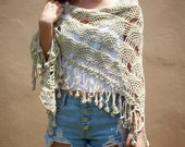 Shawl, crochet, beige, linen beige, iridescent, crochet fringe, crochet wedding shawl, beach shawl, unique, cotton, wrap