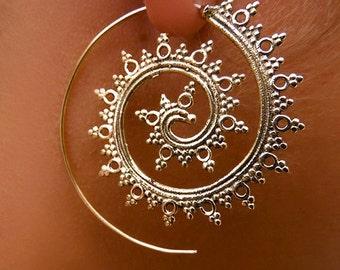 Brass Earrings - Brass Spiral Earrings - Brass Tribal Earrings - Tribal Spiral Earrings - Gypsy Earrings - Indian Earrings - Ethnic (EB2)