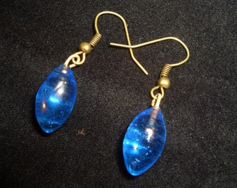 Blue glass drop earrings
