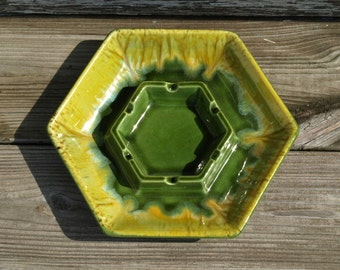 Vintage Green Pottery Ashtray Haeger