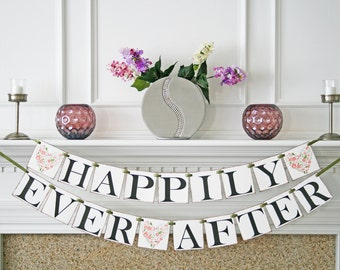 Happily Ever After Banner - Wedding Banner - Wedding Sign - Party Photo Prop - Customized Color