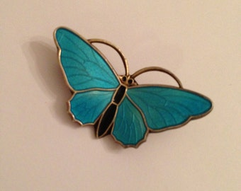 Vintage sterling and blue enamel butterfly brooch