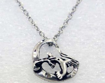 Silver Pewter Diamond Cut Handmade Hummingbird Heart Necklaces