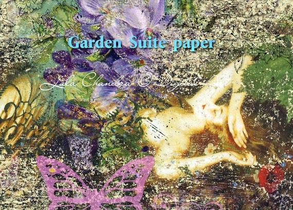 Garden Suite printable INSTANT DOWNLOAD decoupage paper Scrapbooking journal kits digital background