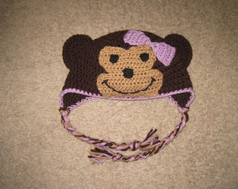 Custom Crochet Monkey Hat With or Without Bow - 4 Colors Available