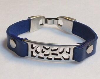 Blue bracelet, women's bracelet, leather bracelet, blue wristband, bar bracelet, women's leather wristband