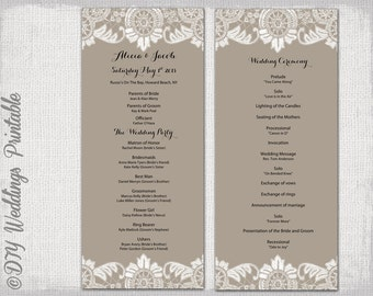 Wedding program template mason jar wedding program for Christian wedding order of service template
