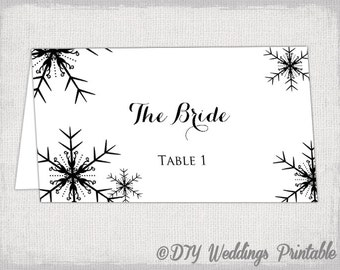 """Printable """"Snowflakes"""" place card template DIY Winter wedding name cards black and white Snowflake YOU EDIT templates instant download"""