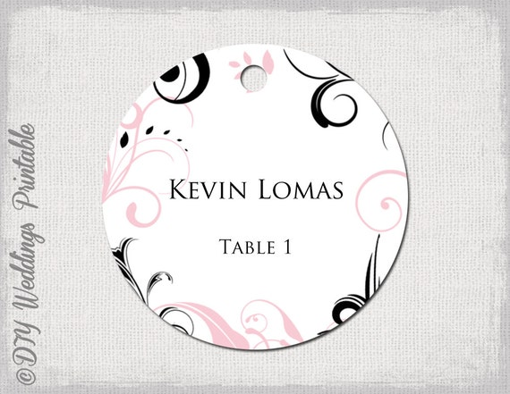 Wedding Favor Tags Template Pink & Black Scroll