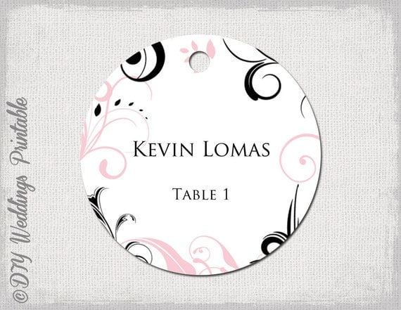 Wedding Favor Tags Template Word : Wedding favor tags template pink & black