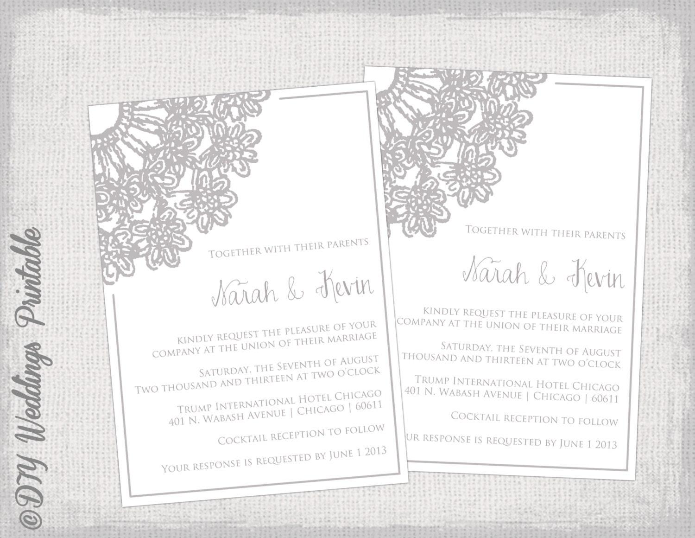 Lace Wedding Invitation Template: Wedding Invitation Template Gray Lace Doily
