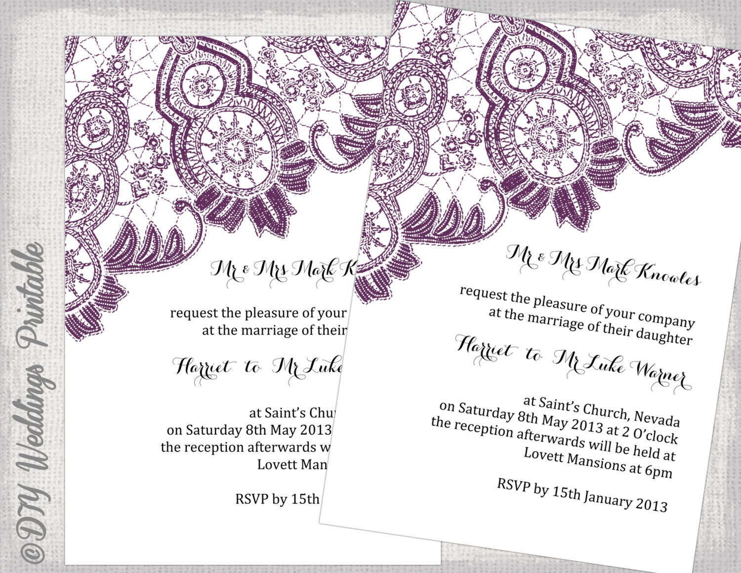 wedding invitation template with purple hibiscus flowers save the