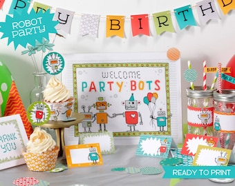 Printable Robot Party Birthday set - digital pdf file