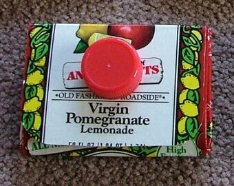 Carton Wallet - Newman's Own Pomegranate Lemonade - Upcycled - Coin Pouch Business Cards Coupons