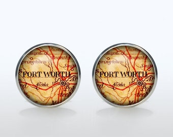 Fort Worth map Cufflinks Silver plated Fort Worth vintage map Cuff links men and women Accessories Antique black brown red green