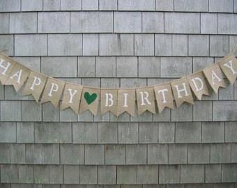 Happy Birthday Burlap Banner, Happy Birthday Bunting, Birthday Decor, Birthday Garland, Birthday Party Decor, Burlap Garland, Rustic, 50th