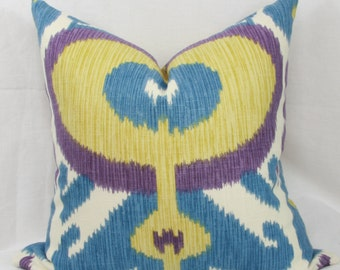"Blue & purple ikat pillow cover. 18"" x 18"".20"" x 20"" . 14"" x 26"". 16"" x 26"" lumbar."