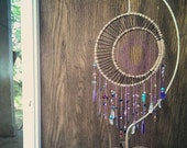 Cosmic crystal catcher- Crescent moon. Gypsy decor. Moon goddess dream catcher. Celestial. Luna. Moon dream catcher. Moon phase