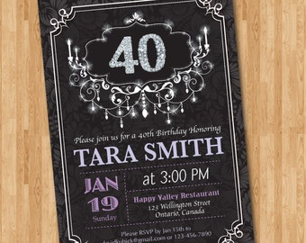 40th Birthday Invitation for Woman. Pink, Purple or Any color. Adult birthday. Glitter Silver Diamond. 30th 50th 60th any age. Printable.