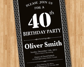40th Birthday Invitation for man. Black and white birthday party invites. Chalkboard. Printable digital DIY.