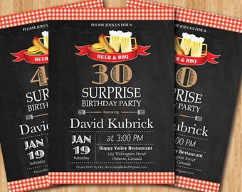 Beer & BBQ Surprise Birthday Party Invitation. 30th 40th 50th 60th 70th 80th 90th. Checkered Chalkboard. Printable Digital DIY.