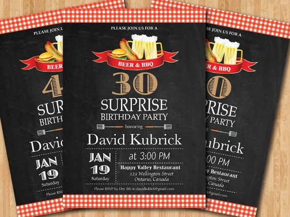 Beer Amp Bbq Surprise Birthday Party Invitation 30th 40th 50th