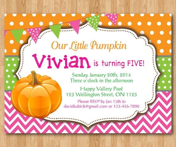 Pumpkin Birthday Invitation. 1st First Birthday Party By